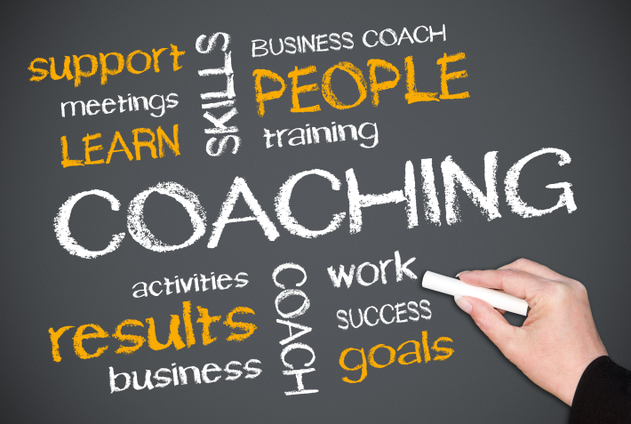 Word cloud of words relating to coaching